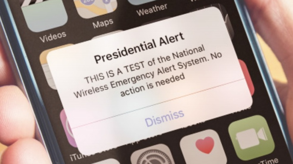 Presidential Alert on a cell phone. Courtesy of 13wham.com